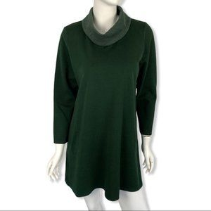 J. Jill Tunic Sweater Large Petite Green Pockets